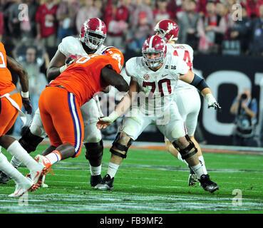Glendale, AZ, USA. 11th Jan, 2016. Ryan Kelly #70 of Alabama during the 2016 College Football Playoff National Championship - Stock Image