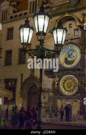 Czech Republic, Prague. Street lamp and Astronomical Clock at night. Credit as: Wendy Kaveney / Jaynes Gallery / - Stock Image