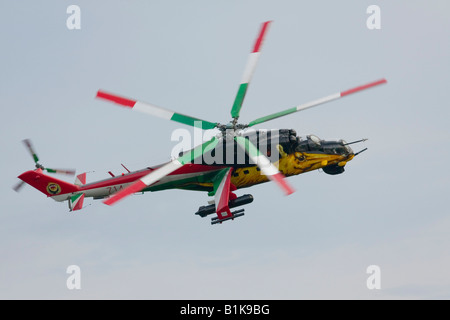 Colorful Hungarian Mi-24 in flight, Airshow Maribor 2008, Slovenia June 15, 2008 - Stock Image