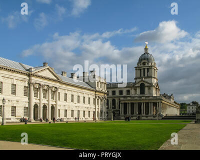 The Old Naval College, Greenwich, London, England. Designed in English Baroque style by Sir Christopher Wren, and a World Heritage Site, - Stock Image