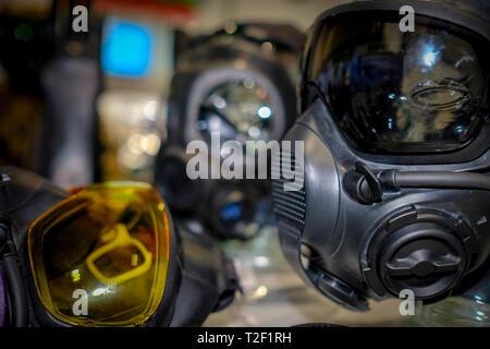 Hazardous environment gas mask with safety glass - Stock Image