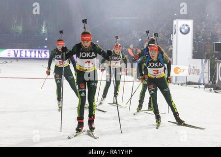 Mass start. The German Team Challenge takes place during the JOKA Biathlon WTC auf Schalke featuring young German biathlethes. - Stock Image