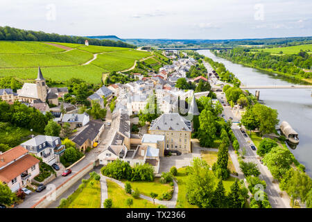 Aerial view of Schengen town center over River Moselle, Luxembourg, the place where Schengen Agreement signed, the birthplace of a Europe without bord - Stock Image