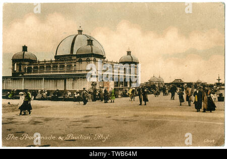 Promenade and Pavilion, Rhyl, North Wales.     Date: circa 1910s - Stock Image