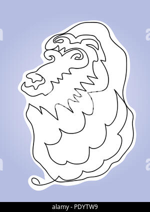 Head of lion.  Black and white simple line sketch of lion head. - Stock Image