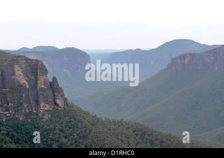 KATOOMBA, Australia - The view out over the Blue Mountains near Blackheath, New South Wales, Australia, from George - Stock Image