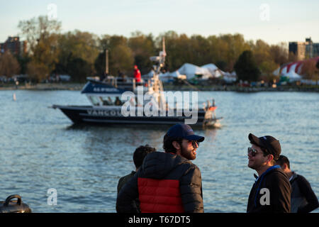 VANCOUVER, BC, CANADA - APR 20, 2019: A Vancouver Police boat patrolling the harbor at the 420 festival in Vancouver. - Stock Image