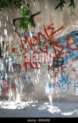 Graffiti in the old town Rethymno Crete Greece - Stock Image