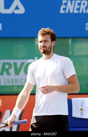 Pune, India. 2nd January 2019. Ernests Gulbis of Latvia during the toss in the second round of singles competition at Tata Open Maharashtra ATP Tennis tournament in Pune, India. Credit: Karunesh Johri/Alamy Live News - Stock Image
