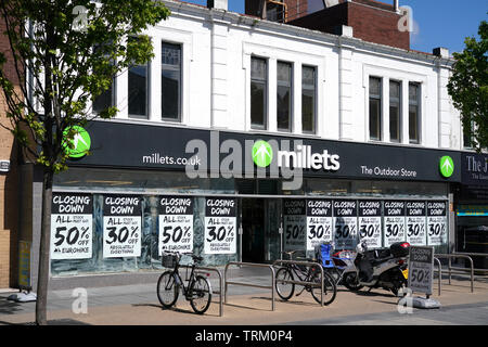 Millets store closing down sale in Southport Merseyside UK - Stock Image