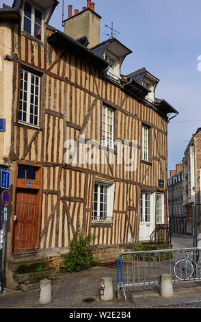 Wooden framed building in Rue de Bertrand Rennes the capital of Brittany, France - Stock Image