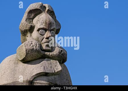 Henrik Ibsen statue Bergen Norway - Stock Image