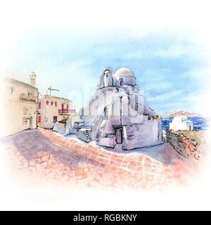 Church of Paraportiani on island Mykonos, Greece - Stock Image