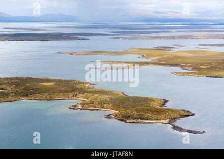 An aerial view of Sea Lion Island, Falkland Islands - Stock Image