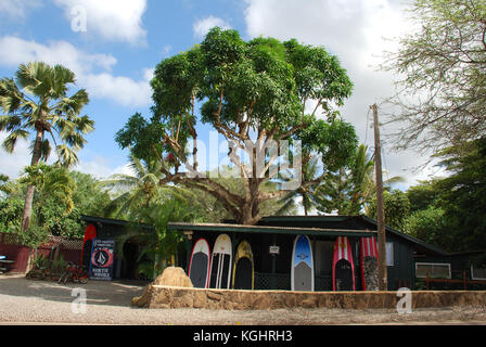 The town of Hale'iwa on Oahu, Hawaii's North Shore - Stock Image