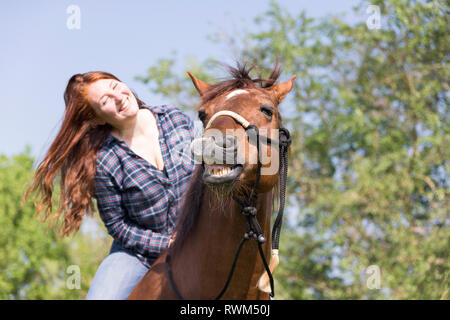 Missouri Fox Trotter. Red-haired young woman on chestnut gelding on a pasture, both of them laughing. Switzerland - Stock Image
