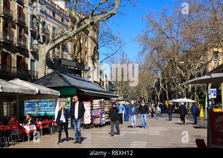 La Rambla pedestrian thoroughfare, Barcelona, Catalunya, Spain - Stock Image
