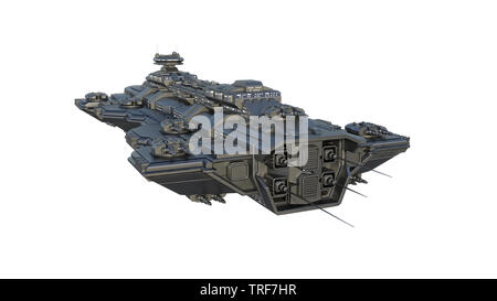 Spaceship flying, alien UFO spacecraft in flight isolated on white background, front view, 3D rendering - Stock Image