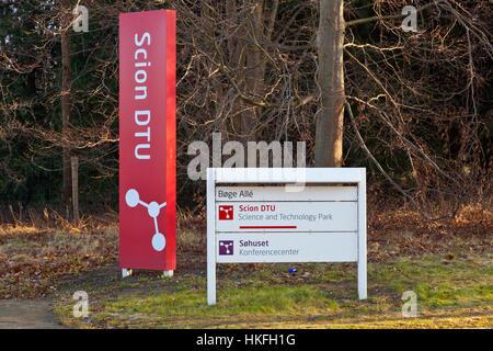 Scion DTU, Sign, logo and entrance to the Scion DTU Science and Technology Park in Hørsholm, north of Copenhagen, - Stock Image