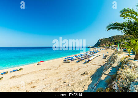 Kathisma Beach is one of the best beaches in Lefkada Island in Ionian Sea - Stock Image