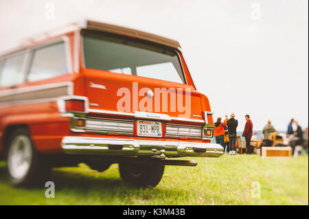 red Jeep Wagoneer - Stock Image