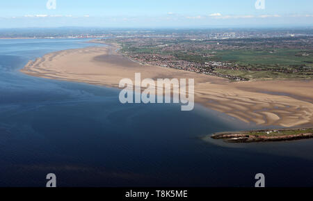 aerial view of the northern end of the Wirral with towns such as West Kirby, Hoylake, Meols & Wallasey visible. Merseyside - Stock Image