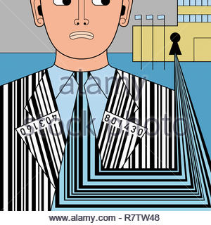 Building collecting barcode data from anxious man - Stock Image
