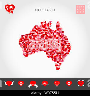 I Love Australia. Red and Pink Hearts Pattern Map of Australia Isolated on Grey Background. Love Icon Set. - Stock Image