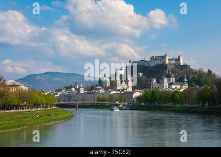 Salzburger Land, view of the cathedral, old town churches and the hill-top castle (Festung Hohensalzburg) in the city of Salzburg, Austria. - Stock Image