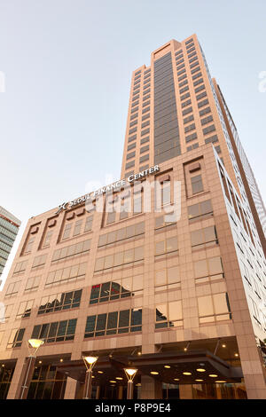 Low angle shot of Seoul Finance Center in Seosomun-dong, Seoul, South Korea. - Stock Image