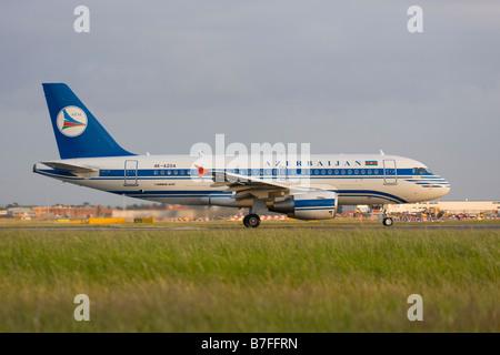Azerbaijan Airlines - AZAL Airbus A319-111 at London Heathrow airport. - Stock Image