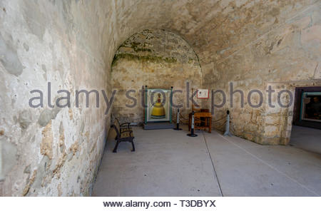 An interior room at the Castillo de San Marcos, a Spanish fortification at St. Augustine, Florida USA - Stock Image