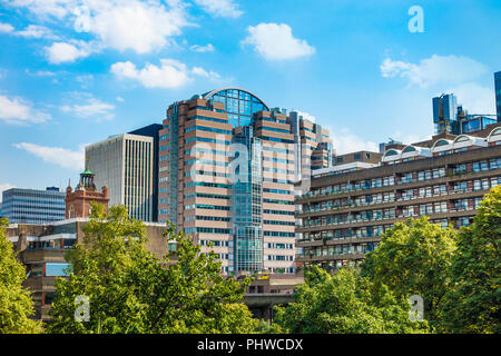125 City Wall,Tower,St Giles Church,View from,Barbican Centre,London,England,UK - Stock Image