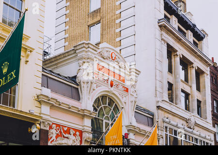 LONDON, UNITED KINGDOM - August 23rd, 2018: facade of the Arcade in New Bond Street in London city centre - Stock Image