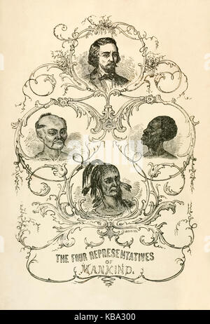 'The Four Representatives of Mankind' frontispiece illustration from 'Bible Defence of Slavery; or the Origin, History, - Stock Image