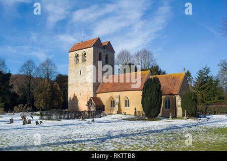 The Parish Church of St. Bartholomew's in Fingest with a light covering of snow. - Stock Image