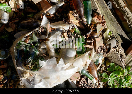 discarded broken glass bottles in a split plastic bag dumped in undergrowth zala county hungary - Stock Image