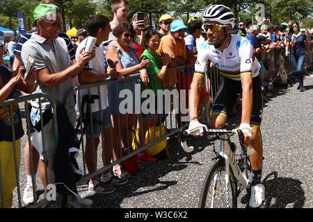 St Etienne, France. 14th July 2019. Tour de France Cycling tour, stage 9, Saint-Etienne to Brioude; Alejandro Valverde, Movistar Team Credit: Action Plus Sports Images/Alamy Live News - Stock Image