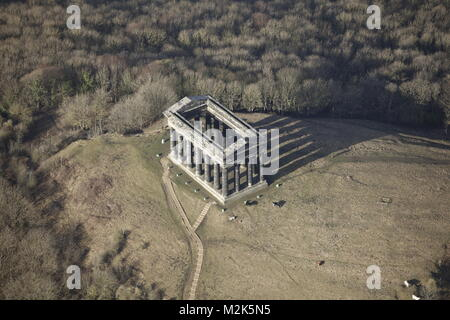 An aerial view of the Penshaw Monument, a Victorian Folly in County Durham - Stock Image