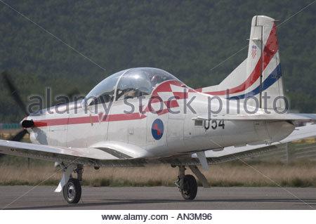 Grobnik Croatia Air show 2005 Pilatus PC9 trainer Croatian Air Force - Stock Image