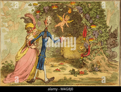 The nuptial-bower; - with the evil-one, peeping at the charms of Eden, from Milton published 1797by James Gillray - Stock Image
