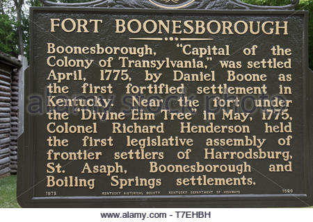 BOONESBOROUGH, KY, USA-5/30/15; A sign erected by Kentucky Historical Society detailing facts about the original Fort Boonesborough, settled by Daniel - Stock Image
