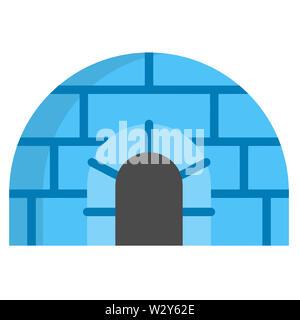 artificial fiberglass snow ice igloo christmas white blue illustration - Stock Image