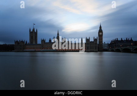 Houses of Parliament and River Thames London England - Stock Image