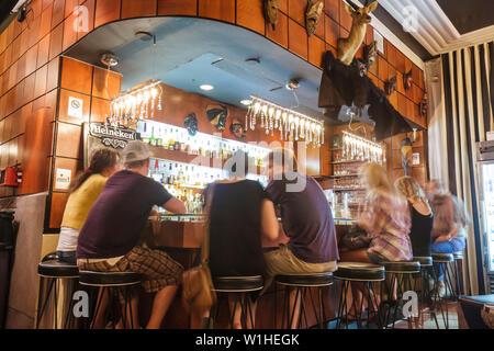 Miami Beach Florida Collins Avenue Art Deco Historic district Chesterfield Hotel boutique hotel Safari Bar and Grill African dec - Stock Image