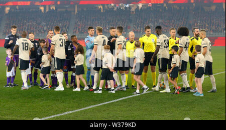 Optus Stadium, Perth, Western Australia. 13th July, 2019Optus Stadium, Perth, Western Australia. 13th July, 2019. Pre-season friendly football, Perth Glory versus Manchester United; Manchester United and Perth Glory players shake hands before the start of the match Credit: Action Plus Sports/Alamy Live News Credit: Action Plus Sports Images/Alamy Live News - Stock Image