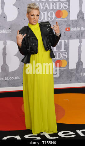 The Brit Awards 2019 held at the O2 - Arrivals  Featuring: Pink Where: London, United Kingdom When: 20 Feb 2019 Credit: WENN.com - Stock Image