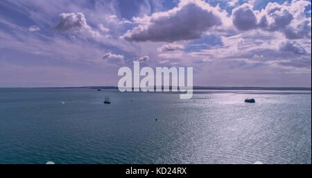 Aerial view of the Solent sea from Portsmouth to the Isle of Wight with ship sailing - Stock Image