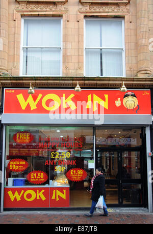 Wok In, Chinese restaurant, Market Place, Leicester - Stock Image
