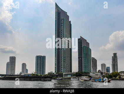 Skyscrapers in the Chao Praya River in Bangkok in Thailand - Stock Image